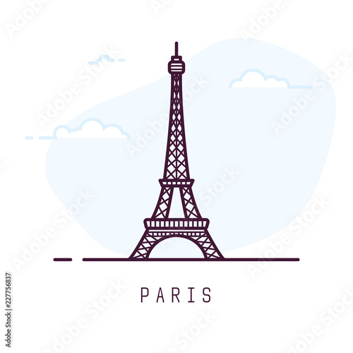 Obraz Paris city line style illustration. Famous Eiffel tower in Paris, France. Architecture city symbol of France. Outline building vector illustration. Sky clouds on background. Travel and tourism banner. - fototapety do salonu
