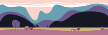 Vector Minimalistic Landscape On The Background Of Mountains.