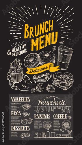 Fototapeta Brunch restaurant menu on chalkboard background. Vector food flyer for bar and cafe. Design template with vintage hand-drawn illustrations. obraz na płótnie