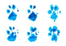 Set Of Blue Dog's Footprint Wa...