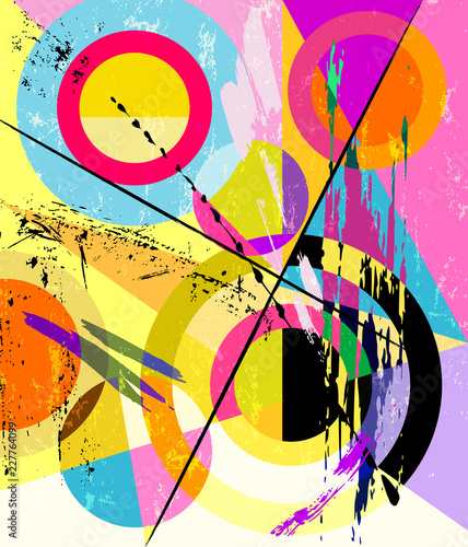 abstract circle background, retro/vintage nineteen thirties style with paint strokes and splashes