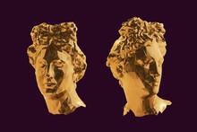 Gold Greek Apollo Head Vector ...