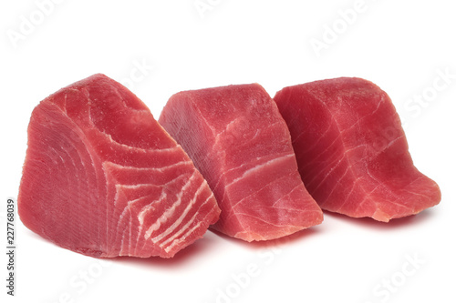 Slices of raw tuna fish meat