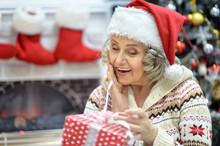 Portrait Of A Senior Woman In Santa Hat