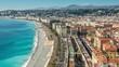 Promenade des Anglias, French riviera, Nice, France. City skyline. Panoramic view.