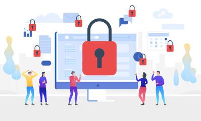 GDPR. General Data Protection Regulation. Access denied. Vector illustration