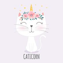 Cute Caticorn Head With Flower Crown.