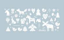 Christmas Illustrations, Banner Design Hand Drawn Elements In Scandinavian Style