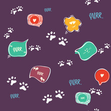 Doodle Cat Paw Seamless Background. Purr. Abstract Cat Paw Vector Seamless Pattern For Card, Invitation, Poster, Banner, Placard, Diary, Album, Sketch Book Cover Etc. Domestic Animal.