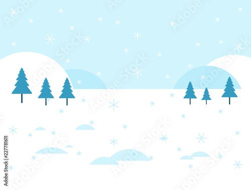 zimowe-zaspy-ze-sniegu-i-szesc-choinek