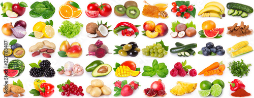 Poster Légumes frais Collection of healthy food on white background
