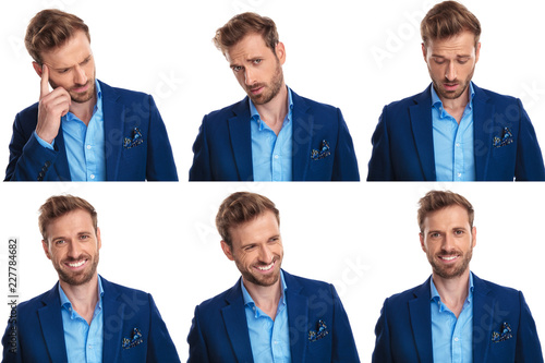 6 different faces of a young cool guy Canvas Print