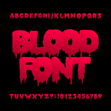 Blood Alphabet Font. Hand Drawn Halloween Letters And Numbers. Vector Typography For Your Design.