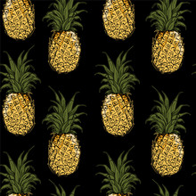 Seamless  Pattern With Hand Drawing  Of A Pineapples. Vector Illustration Repeat