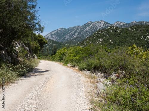 Old road around the beautiful Bacina lakes in Dalmatia,Croatia - holiday destination