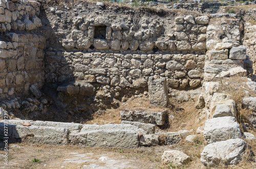Foto op Aluminium Rudnes The ruins of the ancient city. Russia, the Republic of Crimea, the city of Sevastopol. 11.06.2018: The ruins of the ancient and medieval city of Chersonese Tauride
