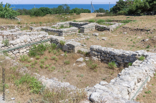 Deurstickers Rudnes The ruins of the ancient city. Russia, the Republic of Crimea, the city of Sevastopol. 11.06.2018: The ruins of the ancient and medieval city of Chersonese Tauride