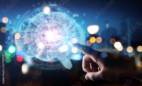 Businessman creating artificial intelligence in a digital brain 3D rendering
