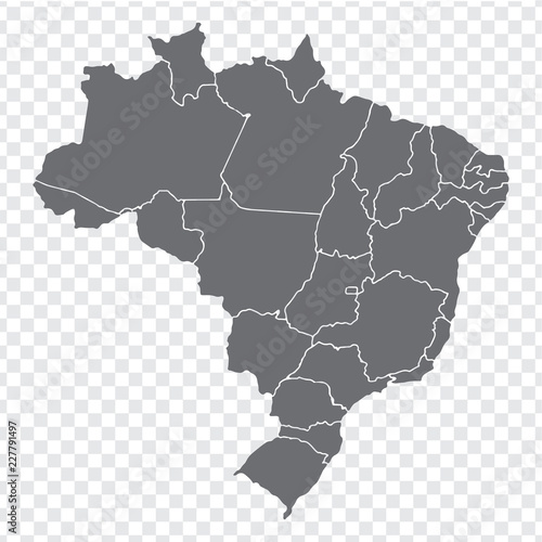 Spoed Fotobehang Wereldkaart Blank map Brazil. High quality map Brazil with provinces on transparent background for your web site design, logo, app, UI. Stock vector. Vector illustration EPS10.