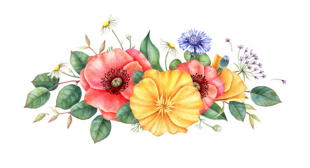 NaklejkaWildflowers. Bouquet of red and yellow poppy, cornflowers, chamomile and herbs isolated on wwhite background. Watercolor hand drawn illustration. Floral design element.