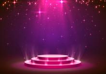 Show Light Podium Stars Background. Vector Illustration