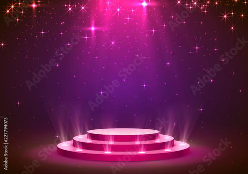 Obraz Show light podium stars background. Vector illustration - fototapety do salonu