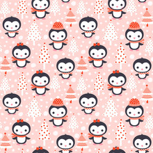 Cute Winter Seamless Pattern With Cartoon Penguin Characters And Christmas Trees And Snow On Pink Background For Invitations, Greeting Cards, Textile And Clothing Design
