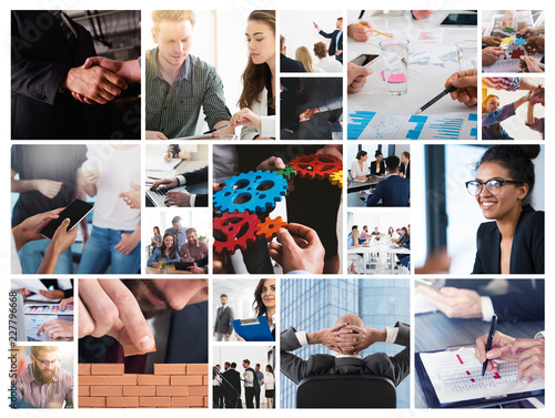 Fotografie, Obraz  Business collage with scene of business person at work