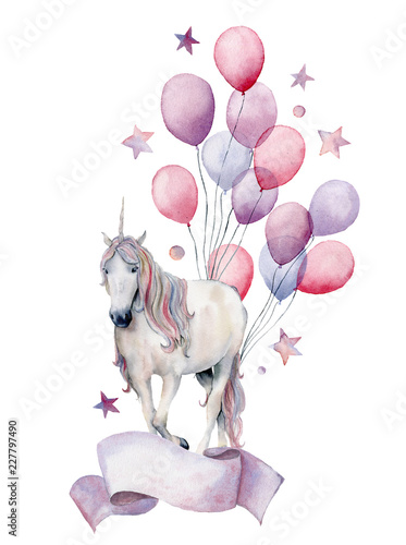 watercolor-fantasy-label-with-unicorn-and-air-ballons-hand-painted-white-horse-air-balloons-stars-isolated-on-white-background-pastel-decor-collection-holiday-illustrations