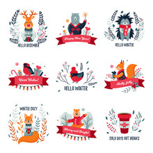 Set Of Christmas / Winter Labels With Cute Forest Animals. Vector Illustration. Christmas Design. Winter Cozy. Hello December. Cold Days Hot Drinks. Happy New Year.