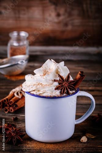 Printed kitchen splashbacks Chocolate Hot chocolate drink with cinnamon and whipped cream.