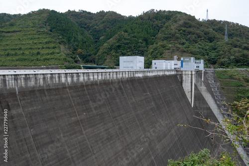 Fotobehang Dam Landscape of MiyagaseDam (神奈川県 宮ヶ瀬ダム) in Kanagawa, Japan.
