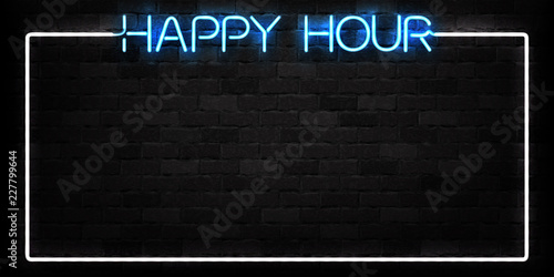 Vector realistic isolated neon sign of Happy Hour frame logo for decoration and covering on the wall background. Concept of night club, free drinks, bar counter and restaurant.