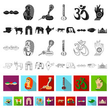 Country India Flat Icons In Set Collection For Design.India And Landmark Vector Symbol Stock Web Illustration.