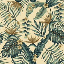 Tropical Leaves And Gold Flowe...