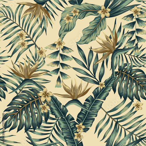 Tropical leaves and gold flowers seamless beige background