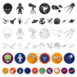 Space technology flat icons in set collection for design.Spacecraft and equipment vector symbol stock web illustration.