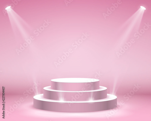 Cuadros en Lienzo Stage podium with lighting, Stage Podium Scene with for Award Ceremony on pink B