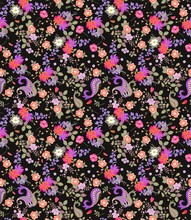 Seamless Floral Summer Pattern With Paisley, Bouquets Of Roses, Daisy, Cosmos And Bell Flowers On Black Background. Print For Fabric, Wallpaper, Wrapping Design. Indian, Turkish Motives.