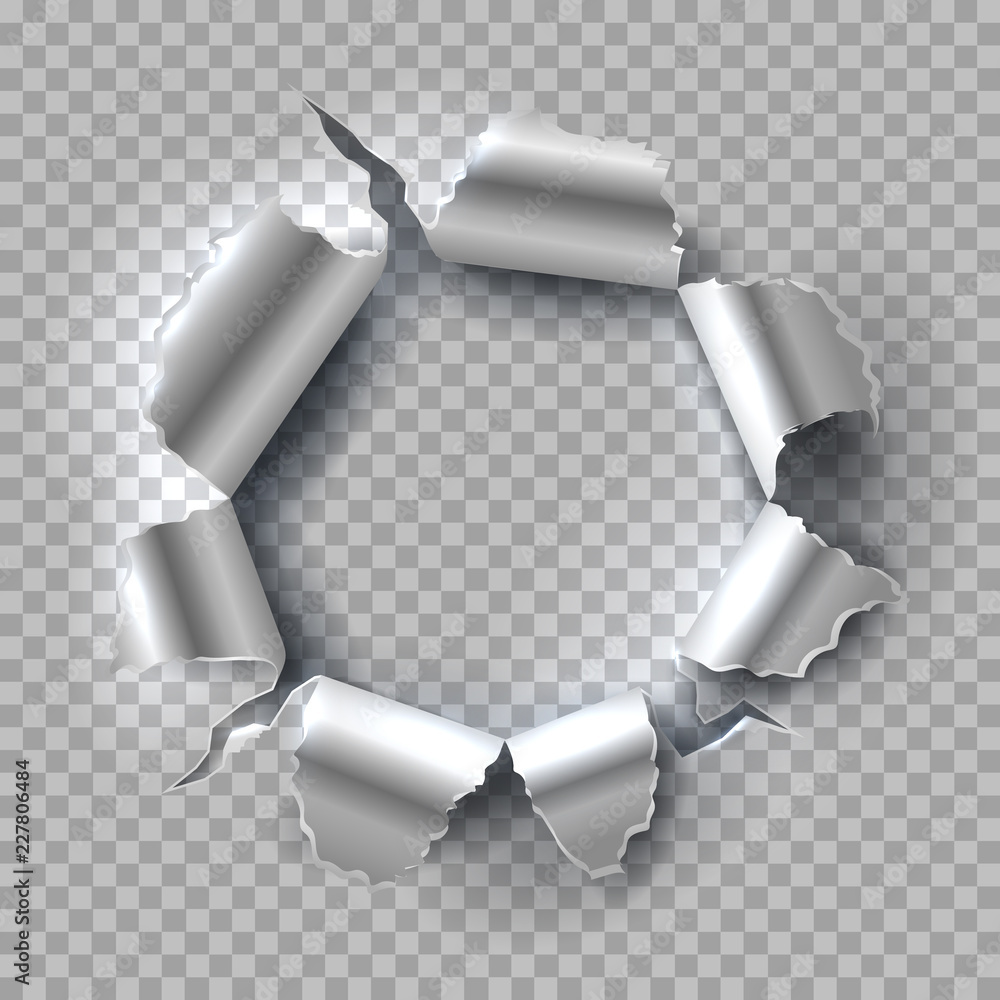 Fototapeta Metal hole. Exploding steel with torn, ripped edges isolated on transparent background. Vector grunge background. Illustration of hole in metal, break and torn aperture