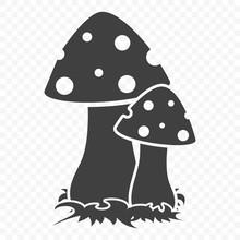 Mushroom Icon. Vector Illustration On A Transparent Background