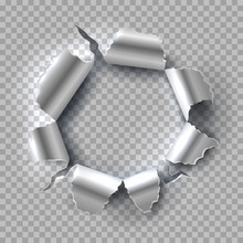 Metal Hole. Exploding Steel With Torn, Ripped Edges Isolated On Transparent Background. Vector Grunge Background. Illustration Of Hole In Metal, Break And Torn Aperture