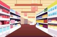 Grocery Supermarket Interior W...