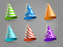 Realistic Party Hats Vector Se...