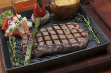 Grilled Beef On Frying Cast Ir...