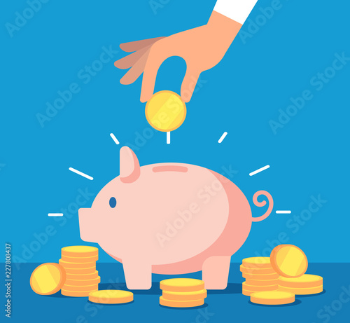 Fototapeta Piggy bank. Money box with falling gold coins. Deposit banking account and cash vector business concept. Illustration of savings dollar, piggybank and moneybox investing obraz