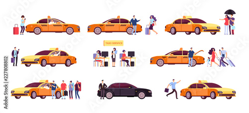 Garden Poster Cartoon cars People and taxi. Cab drivers passenger and car in ride. Taxi service isolated icons. Taxi service car, transportation customer illustration