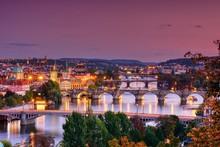 Charles Bridge, Karluv Most, Prague In Winter At Sunrise, Czech Republic.