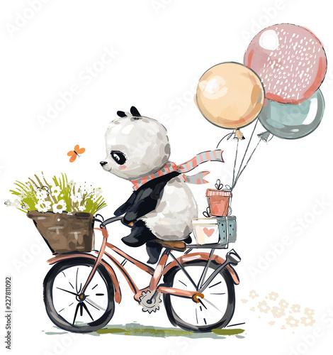 Naklejka premium Mała panda na rowerze