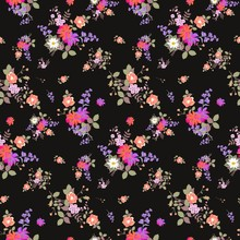 Seamless Floral Summer Pattern With Bouquets Of Roses, Daisy, Cosmos And Bell Flowers On Black Background. Print For Fabric, Wallpaper, Wrapping Design. Fabric For Dresses.
